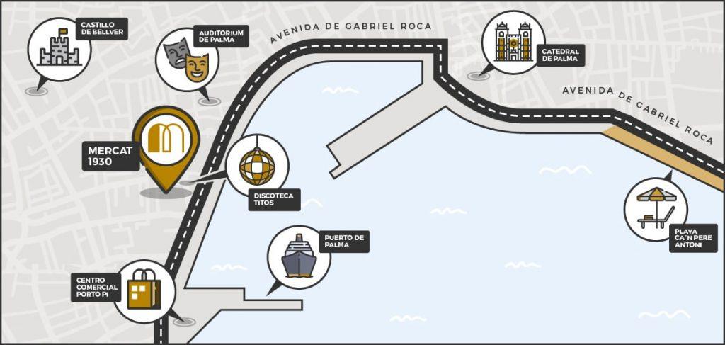 mapa mercado gastronómico 1930 Palma de Mallorca