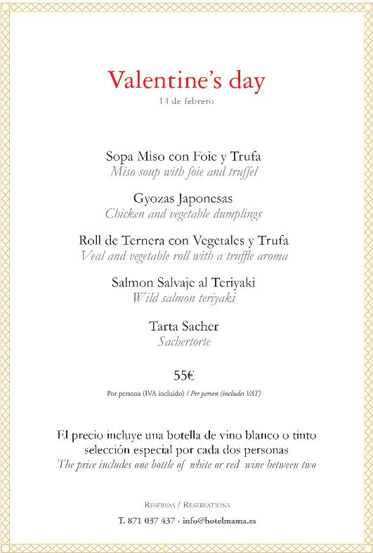 menu hotel mama san valentin mallorca