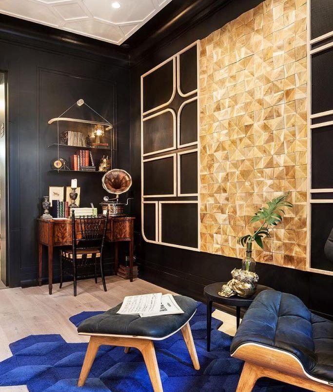 interiores en azul negro y oro