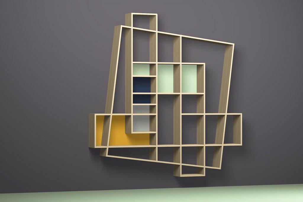 mobiliario asimetrico estanteria